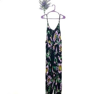 Black Urban Outfitters Tropical Floral Jumpsuit M